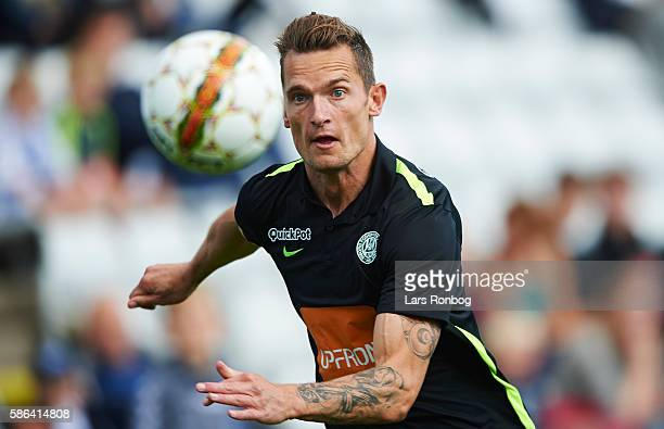 Jonas Kamper of Viborg FF in action during the Danish Alka Superliga match between OB Odense and Viborg FF at TreFor Park on August 6 2016 in Odense...