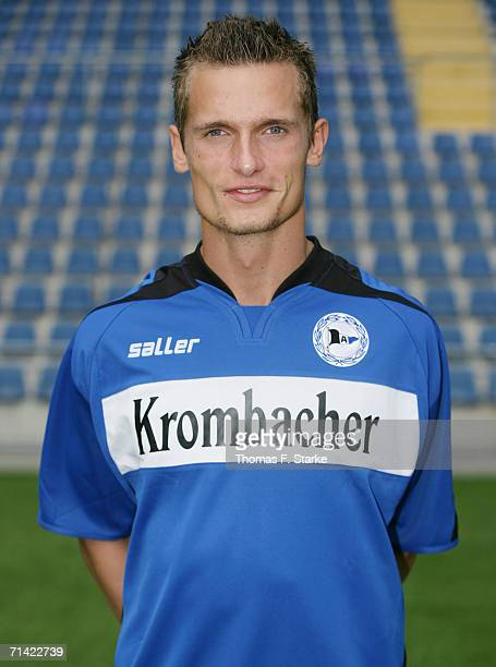 Jonas Kamper poses during the Bundesliga 1st Team Presentation of Arminia Bielefeld at the Schueco Arena on July 6 2006 in Bielefeld Germany