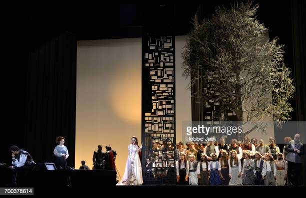 Jonas Kaufmann as Otello Kai Ruutel as Emilia Maria Agresta as Desdemona and Marco Vratogna as Iago with artists of the company in the Royal Opera's...