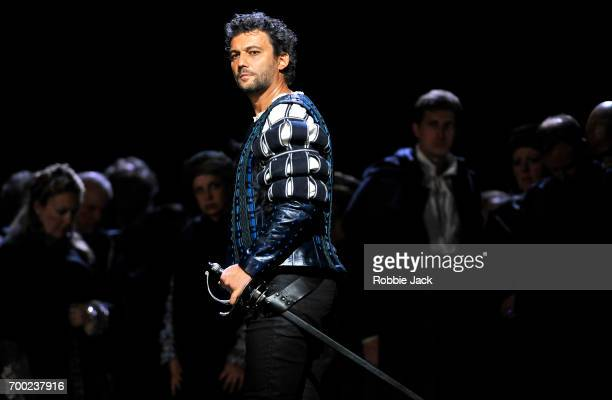 Jonas Kaufmann as Otello with artists of the company in the Royal Opera's production of Giuseppe Verdi's Othello directed by Keith Warner and...