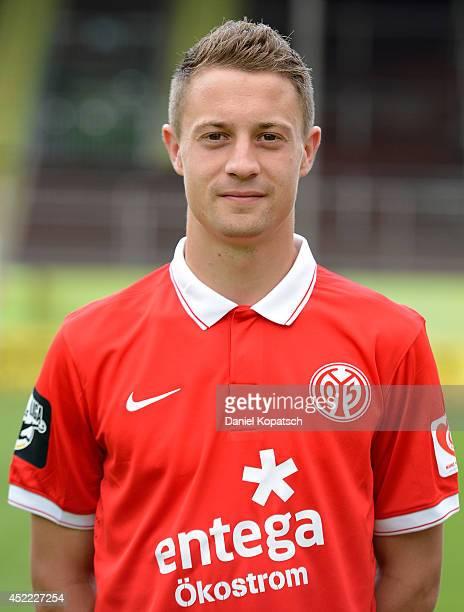 Jonas Kiermeier poses during the team presentation of 1 FSV Mainz 05 II at Bruchwegstadion on July 16 2014 in Mainz Germany