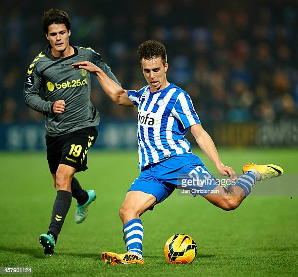 Jonas Knudsen of Esbjerg FB in action during the Danish Superliga match between Esbjerg FB and Brondby IF at Blue Water Arena on Oktober 26 2014 in...