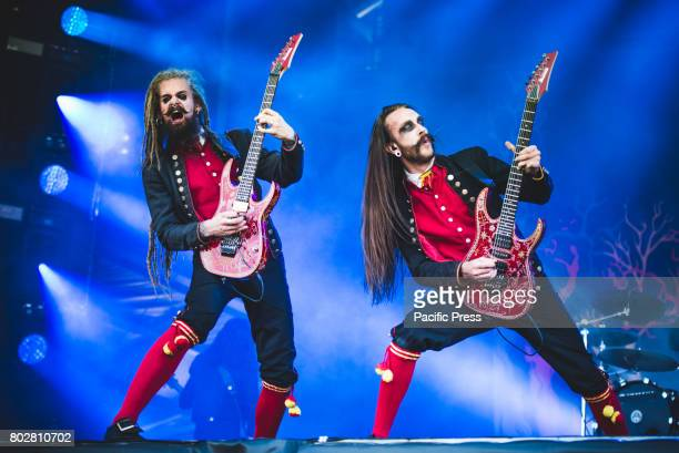 FESTIVAL CLISSON NANTES FRANCE Jonas 'Kungen' Jarlsby and Tim Öhrström during performance Avatar performing live at the Hellfest Festival 2017 in...