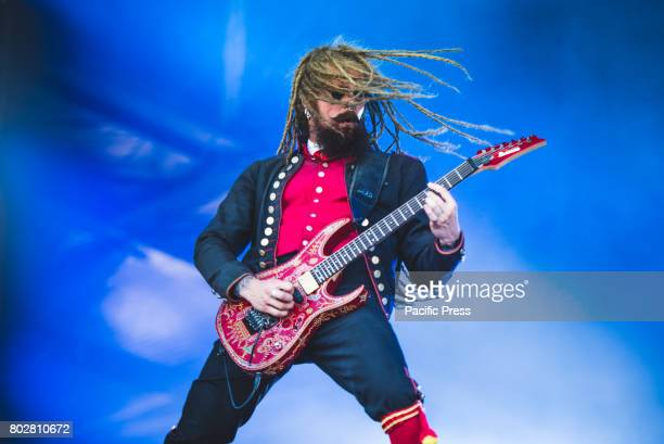 FESTIVAL CLISSON NANTES FRANCE Jonas 'Kungen' Jarlsby during performance Avatar performing live at the Hellfest Festival 2017 in Clisson near Nantes