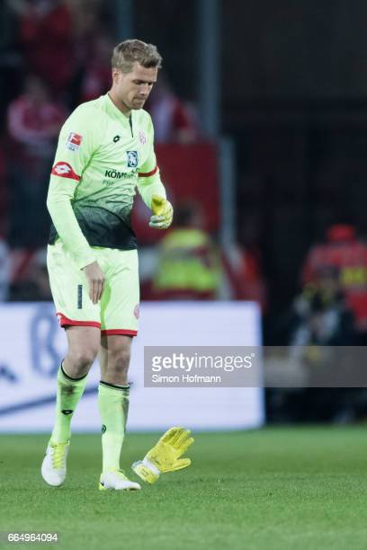 Jonas Loessl of Mainz reacts after the Bundesliga match between 1 FSV Mainz 05 and RB Leipzig at Opel Arena on April 5 2017 in Mainz Germany
