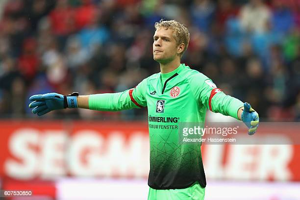 Jonas Loessl of Mainz reacts during the Bundesliga match between FC Augsburg and 1 FSV Mainz 05 at WWK Arena on September 18 2016 in Augsburg Germany