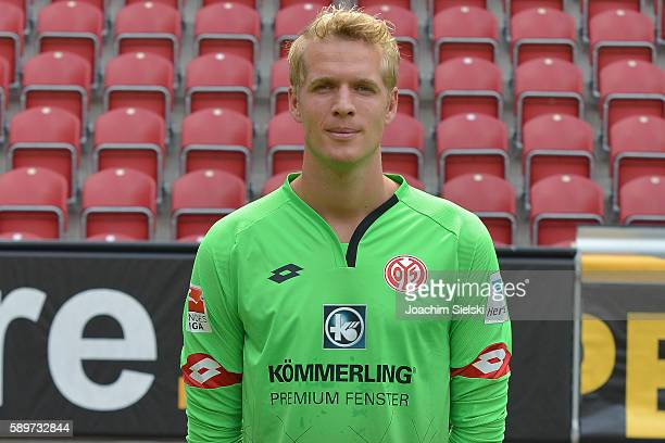 Jonas Loessl poses during the official team presentation of 1 FSV Mainz 05 at Opel Arena on July 25 2016 in Mainz Germany