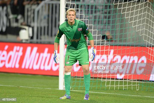 Jonas Lossl of EA Guingamp in action during the UEFA Europa League group K match between Guingamp and PAOK on October 2 2014 at the Roudourou Stadium...