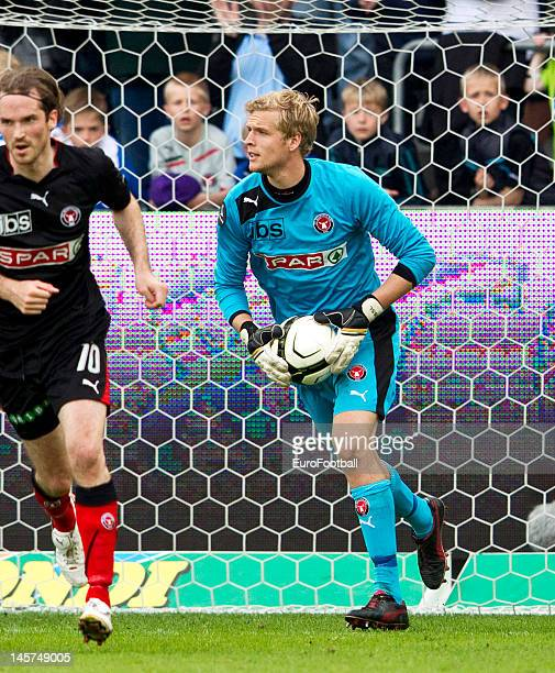 Jonas Lossl of FC Midtjylland in action during the Danish Superliga match between FC Midtjylland and FC Copenhagen held on May 20 2012 at the MCH...