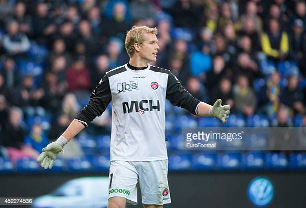 Jonas Lossl of FC Midtjylland in action during the Danish Superliga match between Brondby IF and FC Midtjylland at the Brondby Stadium on May 08 2014...