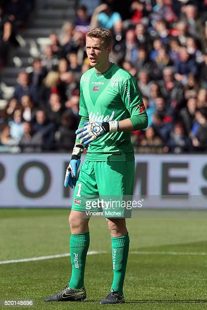 Jonas Lossl of Guingamp during the French League 1 match between EA Guingamp and Paris SaintGermain on April 9 2016 in Guingamp France