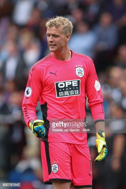 Jonas Lossl of Huddersfield Town celebrates during the Premier League match between Crystal Palace and Huddersfield Town at Selhurst Park on August...