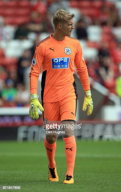 Jonas Lossl of Huddersfield Town during the pre season friendly between Barnsley and Huddersfield Town at Oakwell Stadium on July 22 2017 in Barnsley...