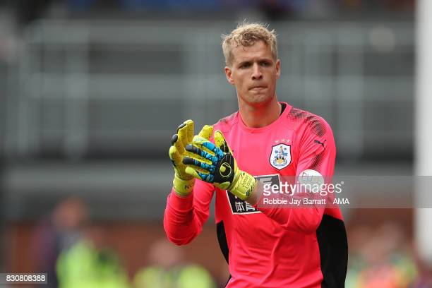 Jonas Lossl of Huddersfield Town during the Premier League match between Crystal Palace and Huddersfield Town at Selhurst Park on August 12 2017 in...