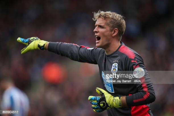 Jonas Lossl of Huddersfield Town during the Premier League match between Huddersfield Town and Tottenham Hotspur at John Smith's Stadium on September...