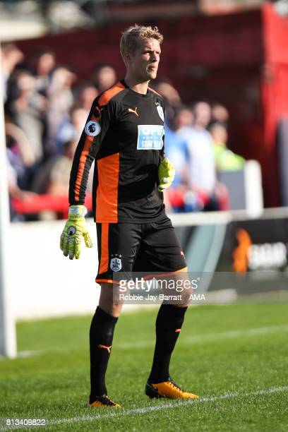 Jonas Lossl of Huddersfield Town during the preseason friendly match between Accrington Stanley and Huddersfield Town at Wham Stadium on July 12 2017...