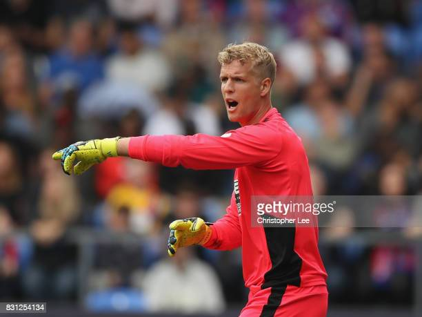 Jonas Lossl of Huddersfield Town in action during the Premier League match between Crystal Palace and Huddersfield Town at Selhurst Park on August 12...