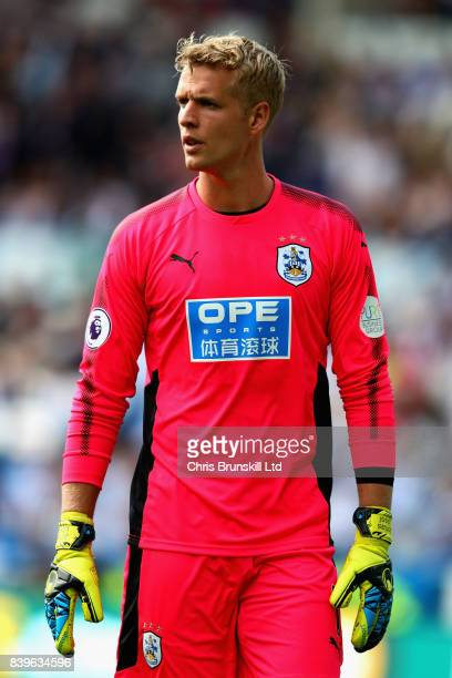 Jonas Lossl of Huddersfield Town in action during the Premier League match between Huddersfield Town and Southampton at John Smith's Stadium on...