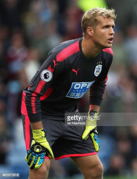 Jonas Lossl of Huddersfield Town looks on during the Premier League match between Burnley and Huddersfield Town at Turf Moor on September 23 2017 in...