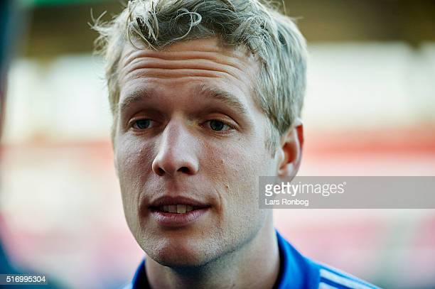 Jonas Lossl speaks to the media prior to the Denmark training session at MCH Arena on March 22 2016 in Herning Denmark