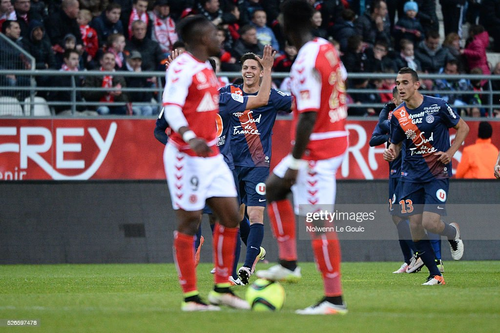Jonas Martin of Montpellier celebrates his goal during the French Ligue 1 match between Stade de Reims and Montpellier Herault SC at Stade Auguste Delaune on April 30, 2016 in Reims, France.