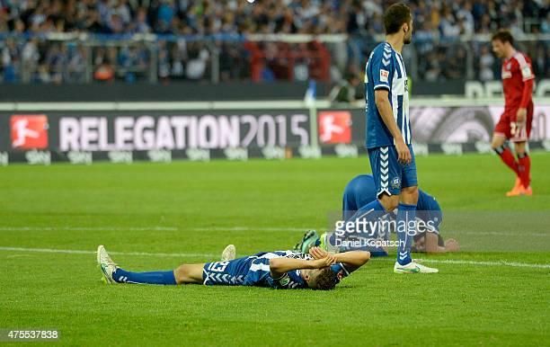 Jonas Meffert of Karlsruhe reacts after the Bundesliga Playoff second leg match between Karlsruher SC and Hamburger SV on June 1 2015 in Karlsruhe...