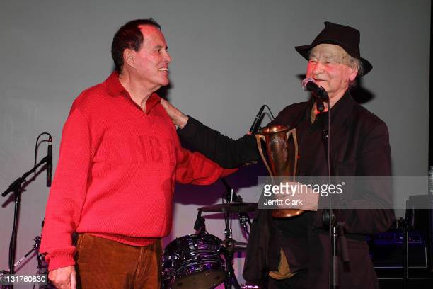 Jonas Mekas presents Kenneth Anger with the Lifetime Achievement Award at the 40th Anniversary of the Anthology Film Archive at the Hiro Ballroom at...