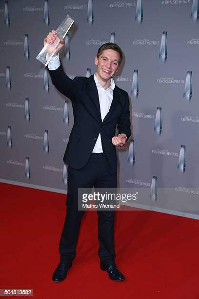 Jonas Nay presents his award during the German Television Award at Rheinterrasse on January 13 2016 in Duesseldorf Germany