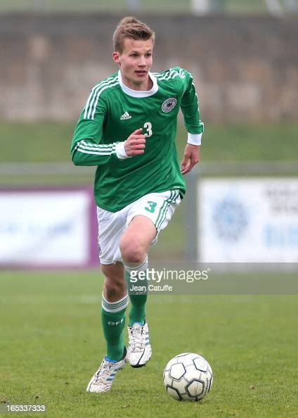 Jonas Nickel of Germany in action during the Tournament of Montaigu qualifier match between U16 Germany and U16 England at the Stade Saint Andre...