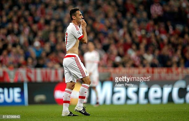 Jonas of Benfica reacts during the UEFA Champions League quarter final first leg match between FC Bayern Muenchen and SL Benfica at Allianz Arena on...