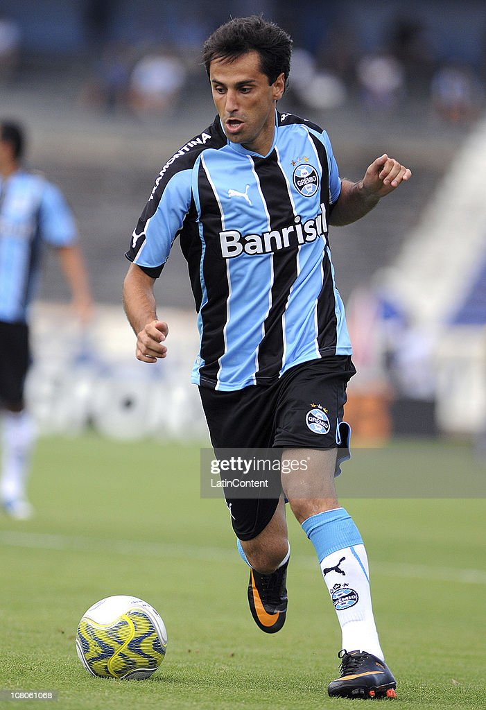 Jonas of Gremio in action during a match against Lajeadense during a match as part of Rio Grande do Sul State Championship 2011 at Olimpico stadium...
