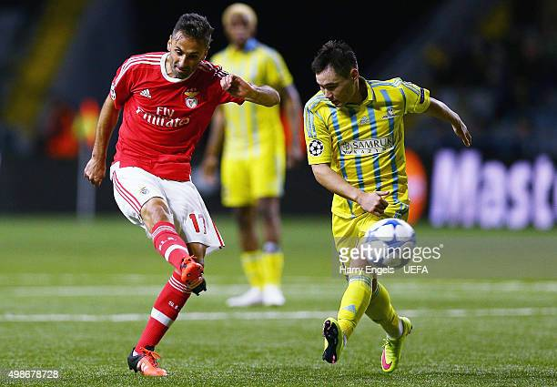 Jonas of SL Benfica shoots at goal during the UEFA Champions League match between FC Astana and SL Benfica at the Astana Arena on November 25 2015 in...