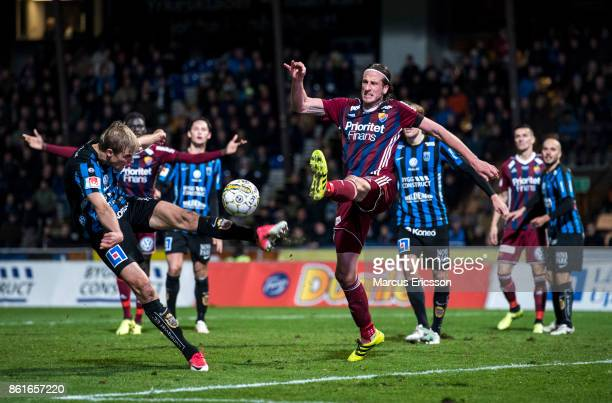 Jonas Olsson of Djurgardens IF can't reach the ball during the Allsvenskan match between IK Sirius and Djurgardens IF at Studenternas IP on October...