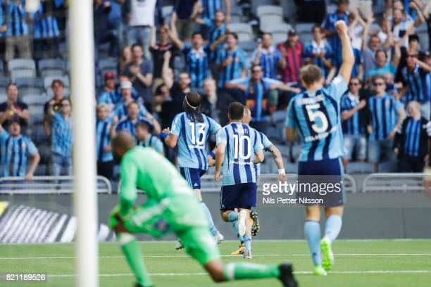 Jonas Olsson of Djurgardens IF celebrates after scoring to 10 during the Allsvenskan match between Djurgardens IF and Ostersunds FK at Tele2 Arena on...