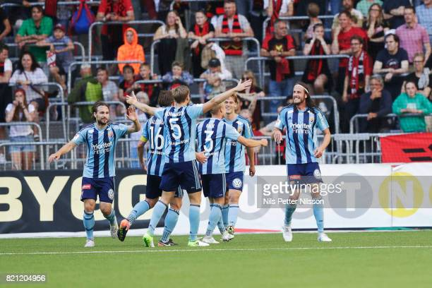 Jonas Olsson of Djurgardens IF celebrates after scoring to 30 during the Allsvenskan match between Djurgardens IF and Ostersunds FK at Tele2 Arena on...