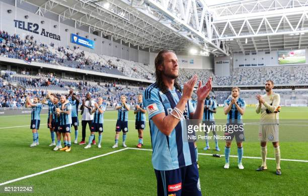 Jonas Olsson of Djurgardens IF celebrates after the victory during the Allsvenskan match between Djurgardens IF and Ostersunds FK at Tele2 Arena on...