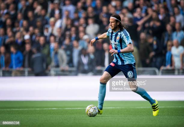 Jonas Olsson of Djurgardens IF during the Allsvenskan match between Djurgardens IF and AIK at Tele2 Arena on May 22 2017 in Stockholm Sweden