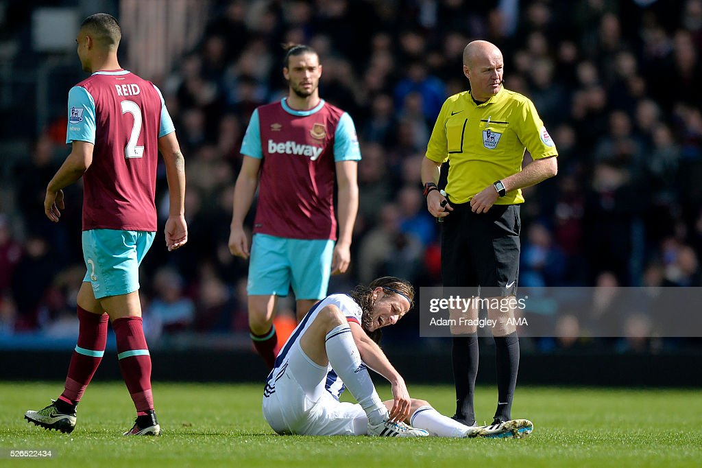 Jonas Olsson of West Bromwich Albion reacts to an injury during the Barclays Premier League match between West Bromwich Albion and West Ham United at The Hawthorns on April 30, 2016 in West Bromwich, United Kingdom.