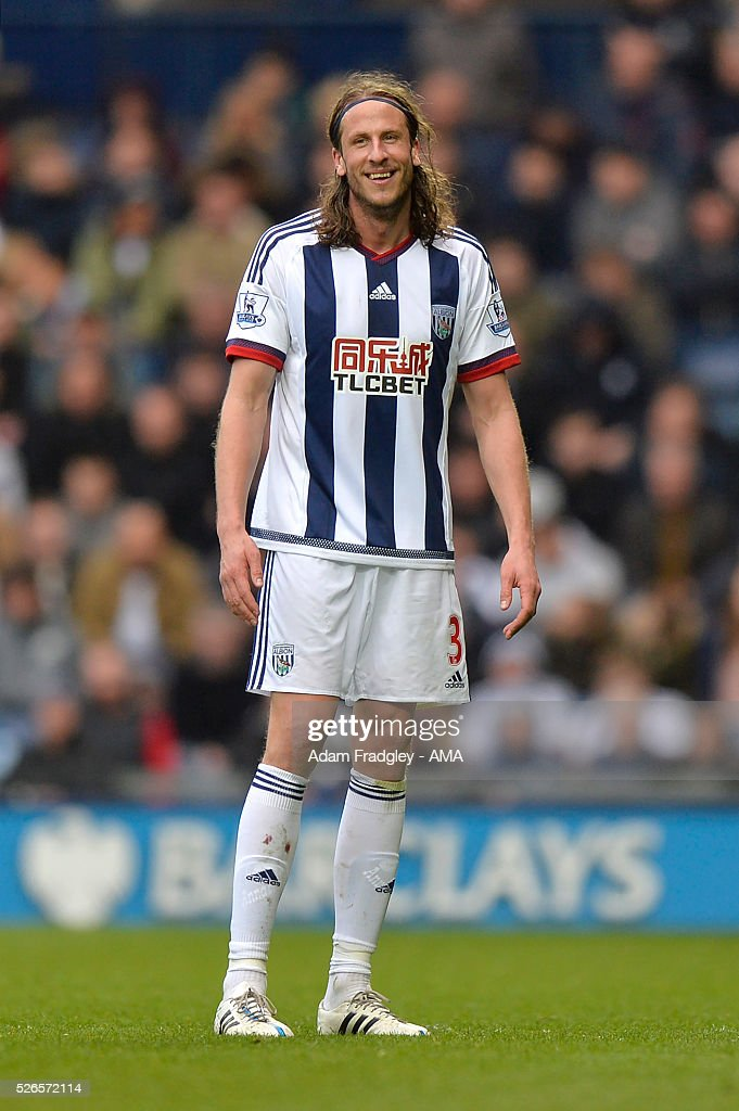 Jonas Olsson of West Bromwich Albion smiles during the Barclays Premier League match between West Bromwich Albion and West Ham United at The Hawthorns on April 30, 2016 in West Bromwich, United Kingdom.