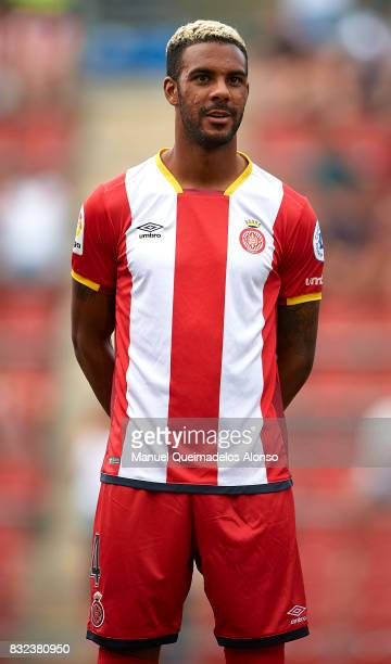 Jonas Ramalho of Girona looks on prior to the preseason friendly match between Girona and Manchester City at Municipal de Montilivi Stadium on August...