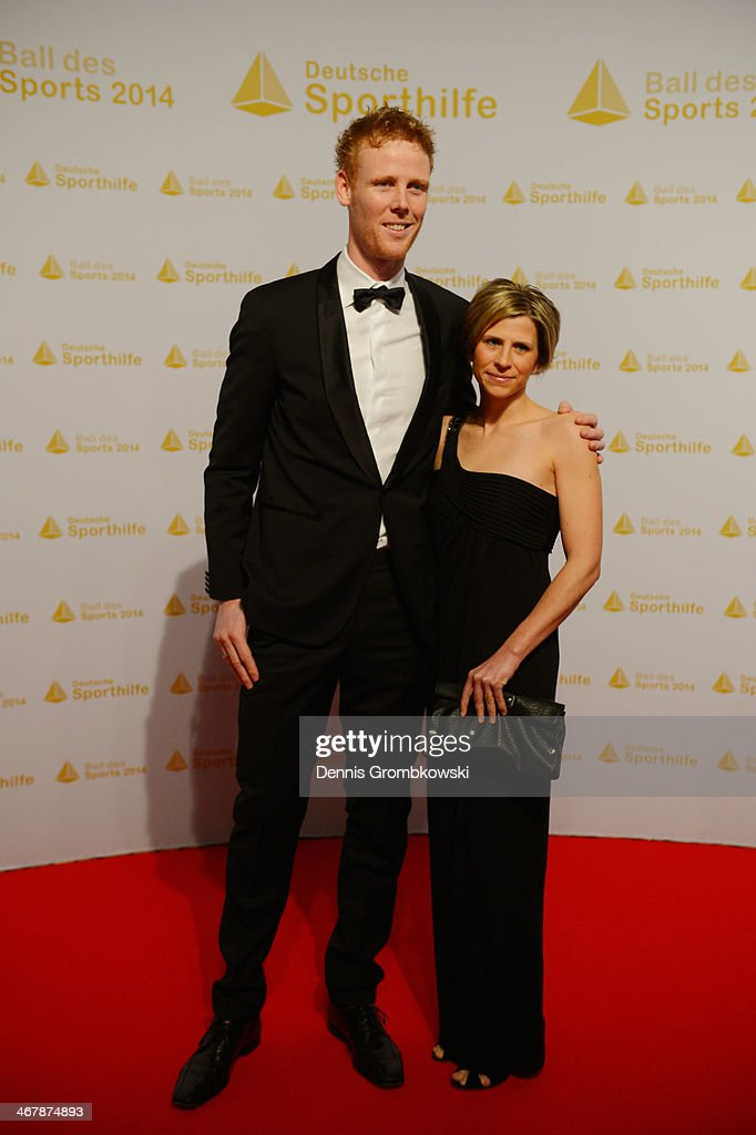 <a gi-track='captionPersonalityLinkClicked' href=/galleries/search?phrase=Jonas+Reckermann&family=editorial&specificpeople=228457 ng-click='$event.stopPropagation()'>Jonas Reckermann</a> poses with wife Katja on his arrival at the Ball des Sports 2014 at Rhein-Main-Halle on February 8, 2014 in Wiesbaden, Germany.
