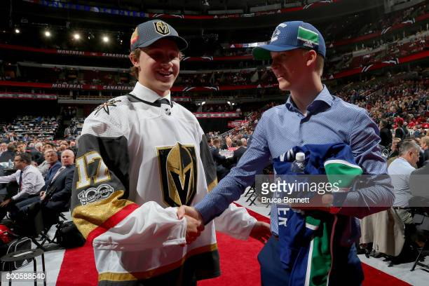 Jonas Rondbjerg and Elias Pettersson meet after being selected during the 2017 NHL Draft at the United Center on June 24 2017 in Chicago Illinois