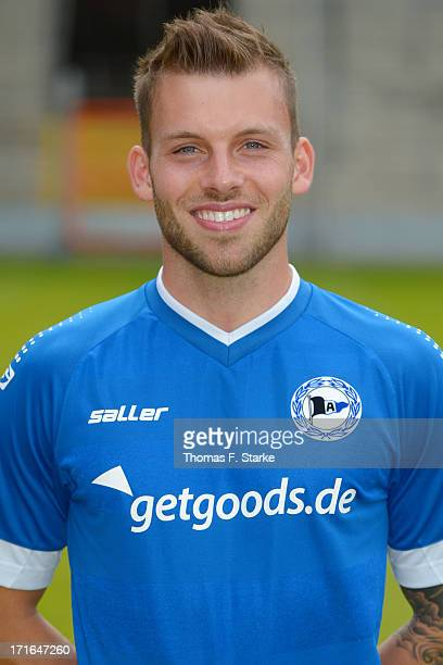 Jonas Strifler poses during the Second Bundesliga team presentation of Arminia Bielefeld at Schueco Arena on June 27 2013 in Bielefeld Germany
