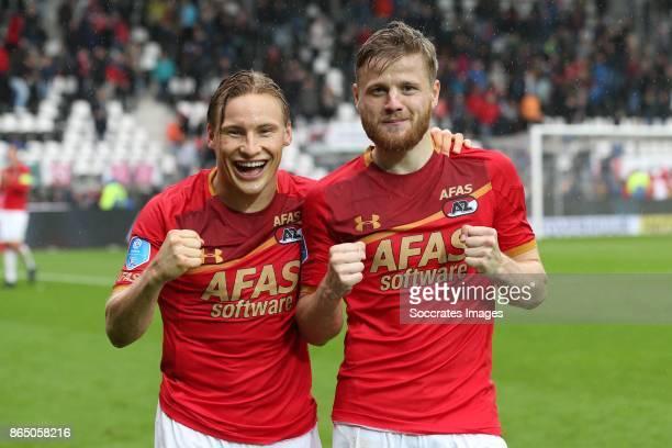Jonas Svensson of AZ Alkmaar Fredrik Midtsjo of AZ Alkmaar celebrate the victory during the Dutch Eredivisie match between AZ Alkmaar v FC Utrecht at...