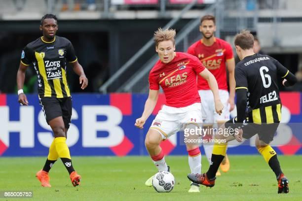 Jonas Svensson of AZ Alkmaar Rico Strieder of FC Utrecht during the Dutch Eredivisie match between AZ Alkmaar v FC Utrecht at the AFAS Stadium on...
