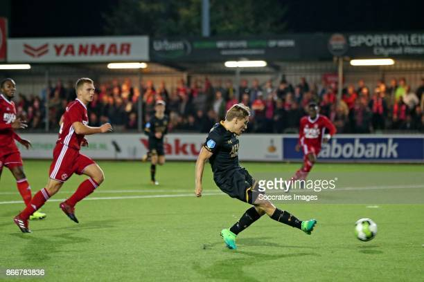 Jonas Svensson of AZ Alkmaar scores his side's fourth goal to make it 04 during the Dutch KNVB Beker match between Almere City v AZ Alkmaar at the...