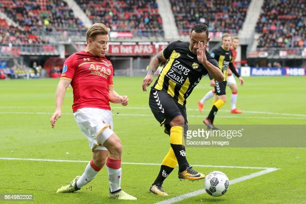 Jonas Svensson of AZ Alkmaar Sean Klaiber of FC Utrecht during the Dutch Eredivisie match between AZ Alkmaar v FC Utrecht at the AFAS Stadium on...