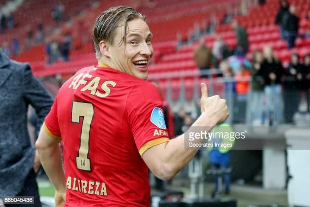 Jonas Svensson of AZ Alkmaar wears a shirt of Alireza Jahanbakhsh of AZ Alkmaar during the Dutch Eredivisie match between AZ Alkmaar v FC Utrecht at...