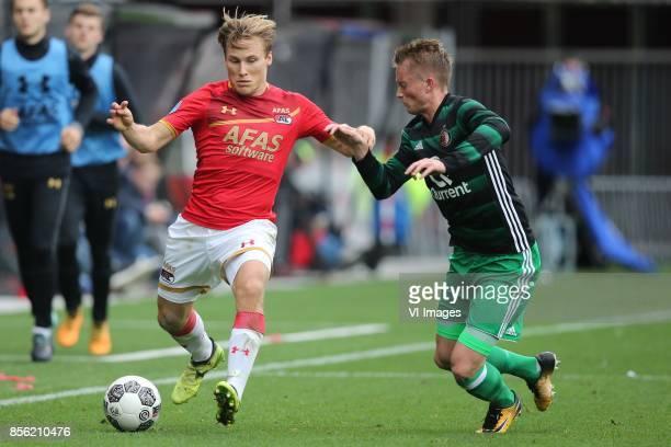 Jonas Svensson of AZ Sam Larsson of Feyenoord during the Dutch Eredivisie match between AZ Alkmaar and Feyenoord Rotterdam at AFAS stadium on October...