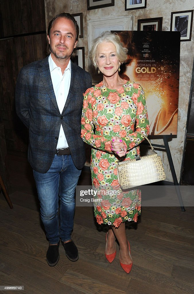 Jonas Tahlin and Helen Mirren attend the Women In Gold cocktail reception at Elyx House New York on December 2 2015 in New York City